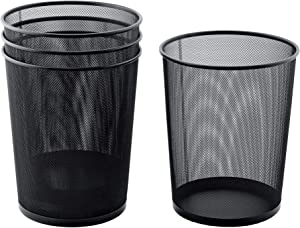 """Amazing Abby 4-Pack Mesh Trash Can, Waste Basket, Garbage Bin for Home and Office, 12"""" Top Diameter x 14"""" Height, 6-Gallon Capacity"""
