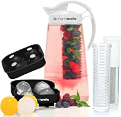 Fruit & Tea Infusion Water Pitcher - The PERFECT Mothers Day Gift - Free Ice Ball Maker - Free Infused Water Recipe Booklet - Includes Shatterproof Jug, Fruit Infuser, and Tea Infuser