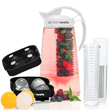 Fruit & Tea Infusion Water Pitcher - The PERFECT Christmas Gift - Free Ice Ball Maker - Free Infused Water Recipe Booklet - Includes Shatterproof Jug, Fruit Infuser, and Tea Infuser