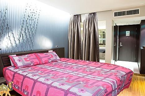 Shopline Pink And Purple Mix Sunmica Design 2pillow Cover Bedsheet