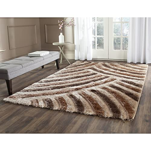 Safavieh Miami Shag Collection SG354-1391 Beige and Multi Area Rug 4 x 6