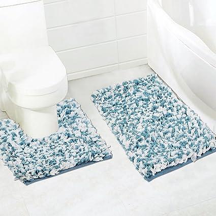 Home Candy Plush Modern 2 Piece Cotton Bath Mat Set - Multicolour