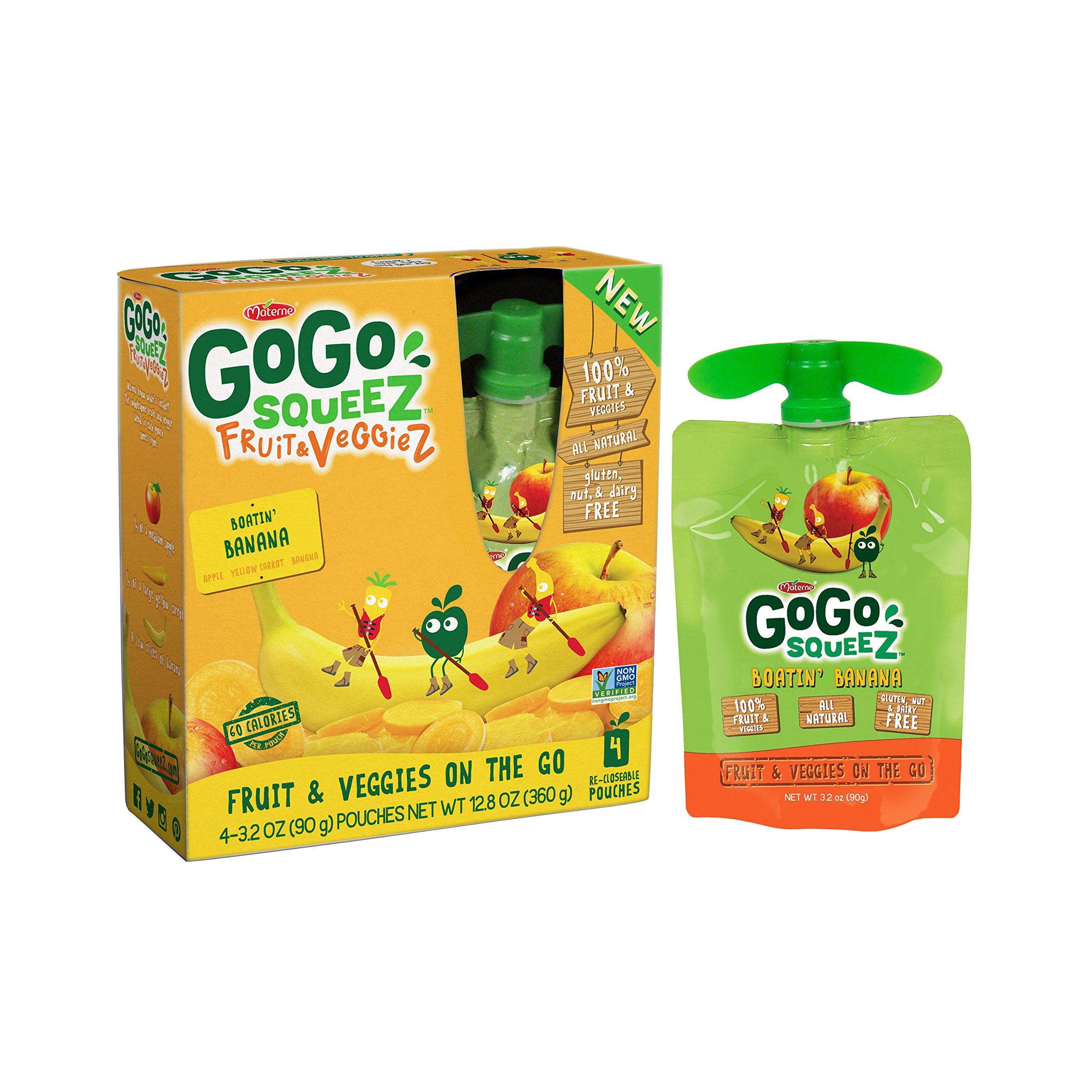 GoGo squeeZ Fruit & VeggieZ, Apple Yellow Carrot Banana, 3.2 Ounce Portable BPA-Free Pouches, Gluten-Free, 4 Total Pouches by GoGo SqueeZ