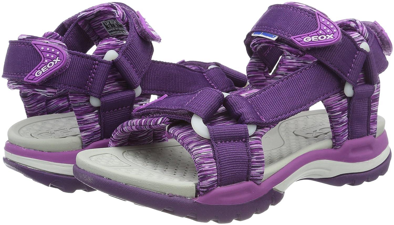 Geox J Borealis Girl a, Sandalias con Punta Abierta para Niñas, Morado (Violet/Purple C8267), 25 EU