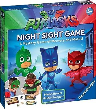 Ravensburger 21392 PJ Masks Night Sight Board Niños de 3 años y más Arriba el Juego de imágenes Ocultas y Memoria