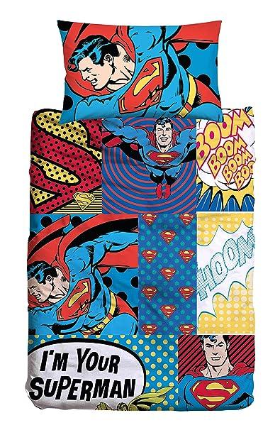 Copripiumino Superman.Superman T F Set Copripiumino 100 Cotone Blu Singolo 155x240