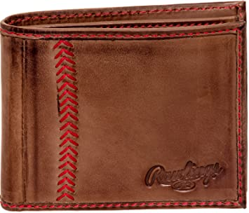 64dcd624b92 Amazon.com  Rawlings Mens Tanned-leather Baseball Stitch Embroidered Wallet  - (Dark Brown)  Mindful Design