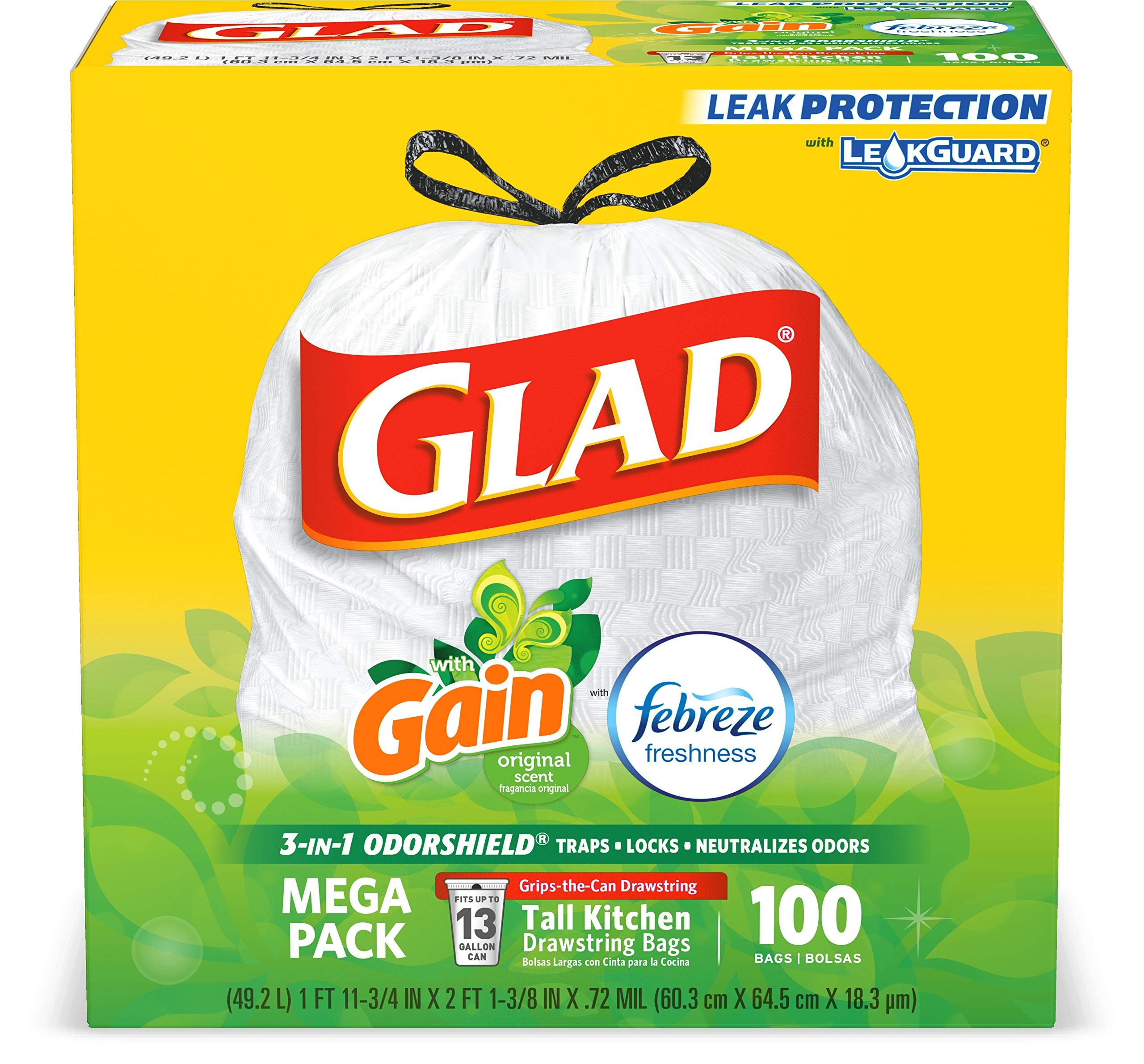 Glad Tall Kitchen Drawstring Trash Bags - OdorShield 13 Gallon White Trash Bag, Gain Original with Febreze Freshness - 100 Count by Glad