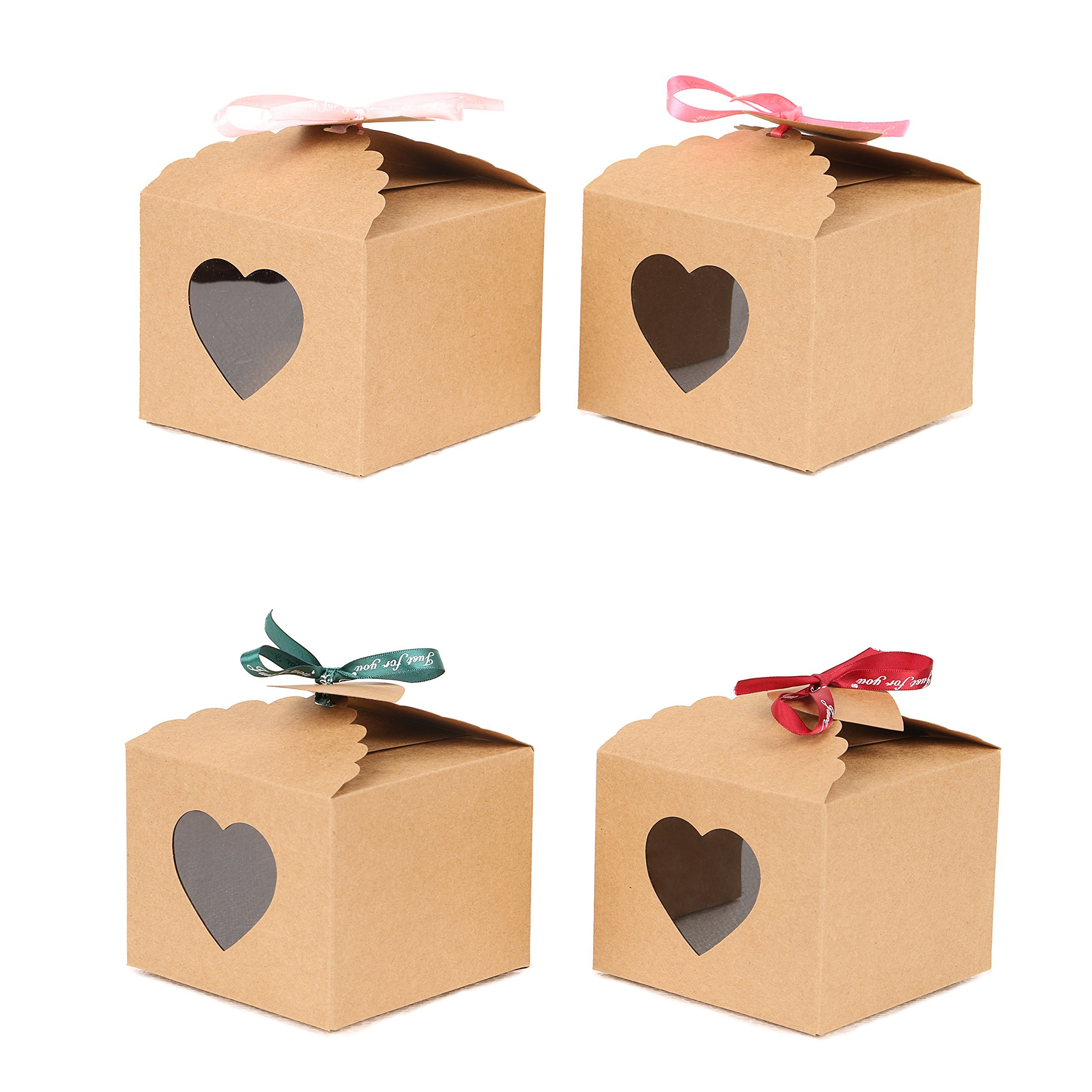 YuSang Kraft Boxes with Tags and Ribbons for Cake Candy Treat Holiday Party Birthday Homemade Favor 5x5x4 Inch (Pack of 16)
