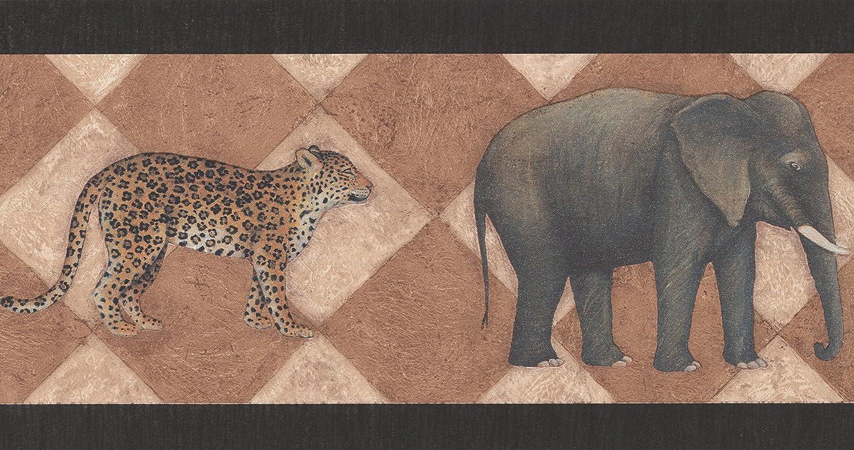 rouleau de 15/x 17,8/cm ELEPHANT Zebra Leopard Animal Frise papier peint Motif r/étro
