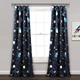 Lush Decor Universe Curtains | Outer Space Stars Galaxy Planet Rocket Pattern Room Darkening Window Panel Set for Living…