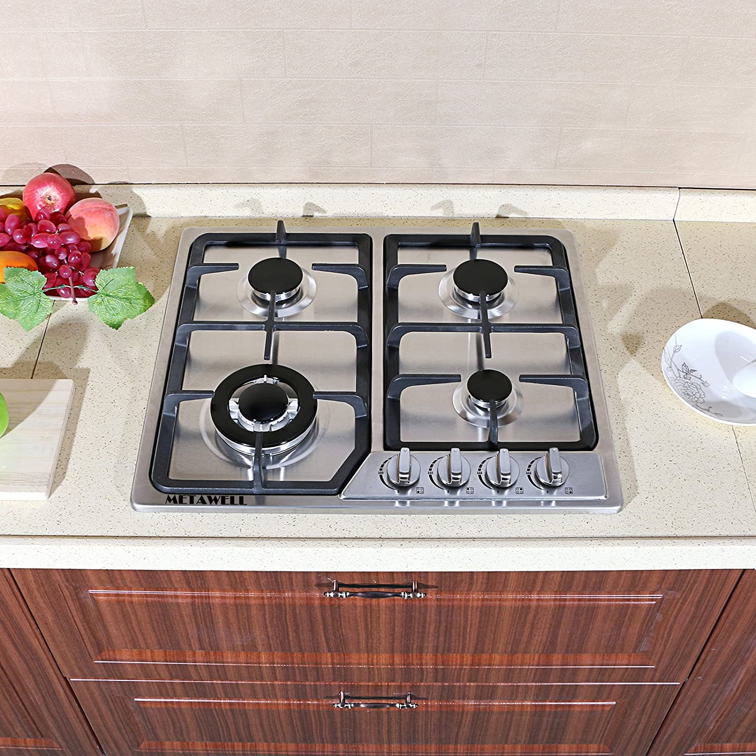 METAWELL 23' Stainless Steel 4 Burners Stove Natural Gas Hob Cooktops 11259Btu 3300W Cooker