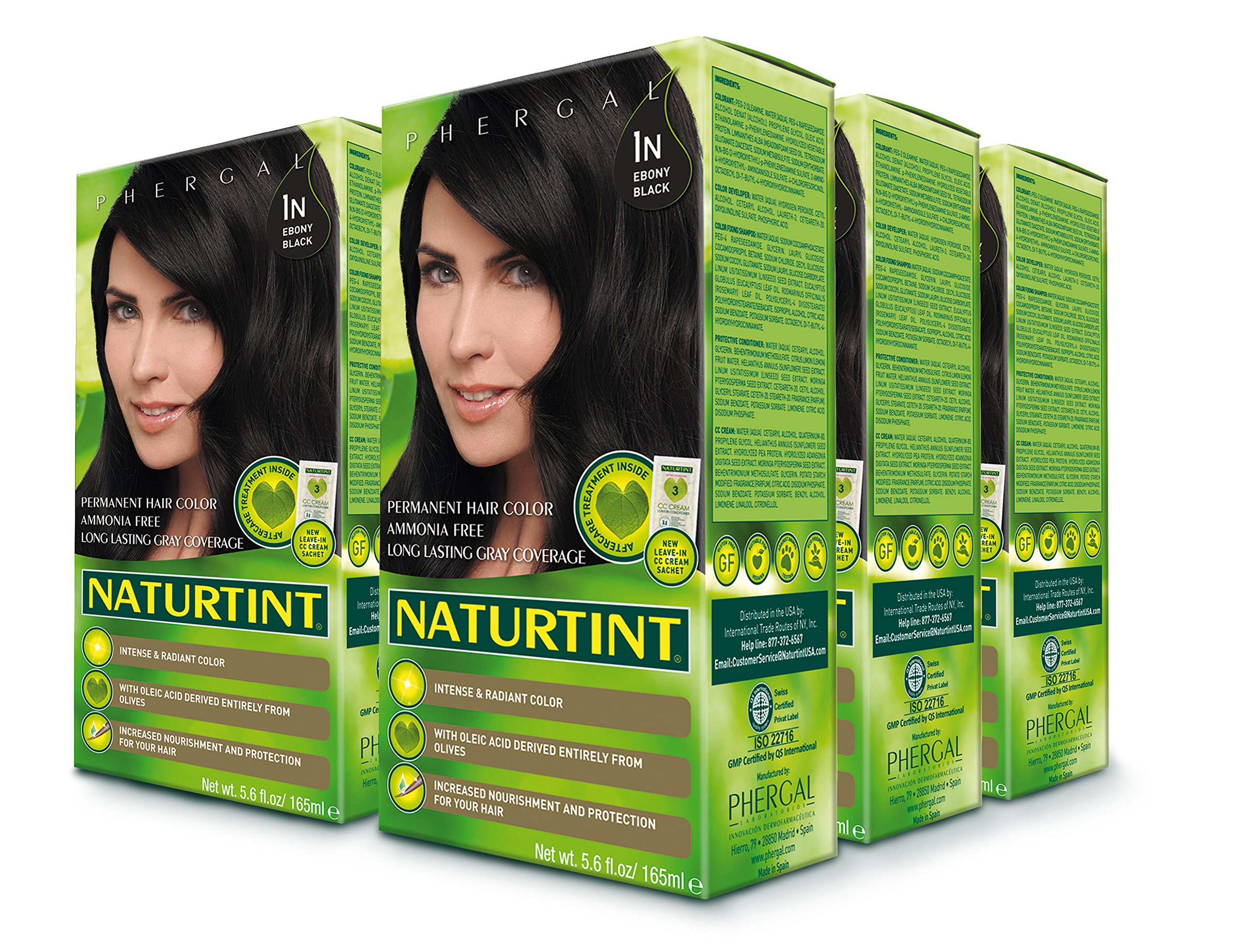 Naturtint Permanent Hair Color - 1N Ebony Black, 5.28 fl oz (6-pack)
