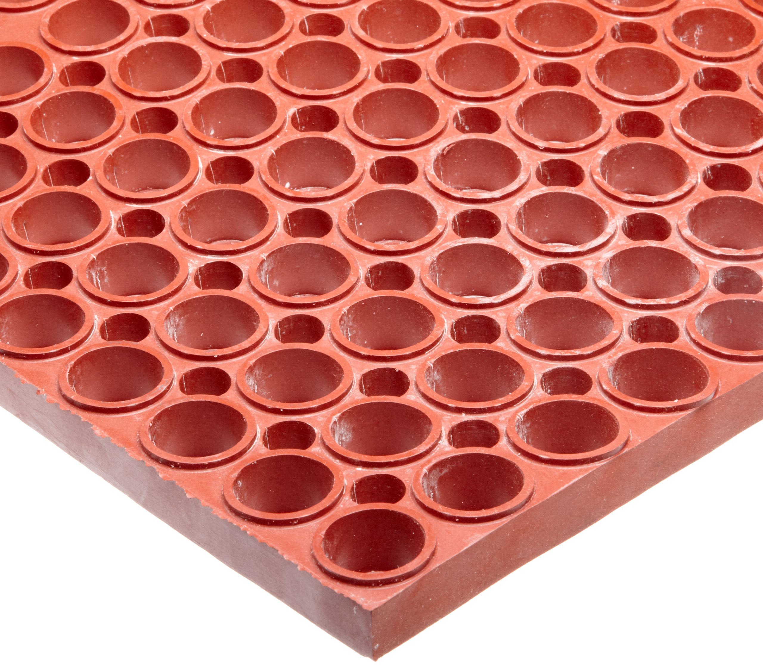 NoTrax T11 Heavy Duty Nitrile Rubber San-Eze II Safety/Anti-Fatigue Mat, for Wet or Greasy Areas, 39'' Width x 29-1/4'' Length x 7/8'' Thickness, Red