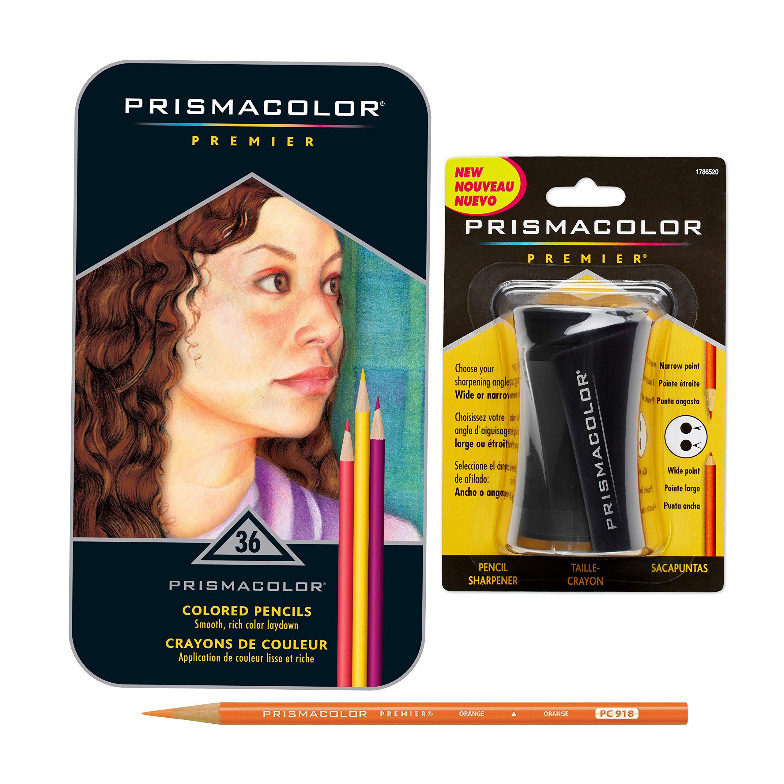 Prismacolor Premier Colored Pencils, Soft Core, 36 Pack with Pencil Sharpener