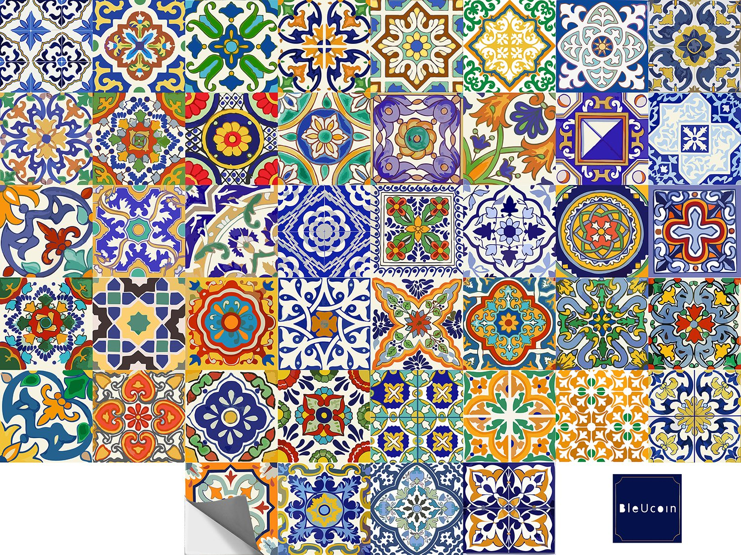 Spanish Mediterranean Talavera Tile Stickers for Kitchen Bathroom Backslash, Removable Stair Riser Decal Peel and Stick Home Decor- 44 Designs - Pack of 44 (8'' x 8'' Inches) by Bleucoin (Image #3)