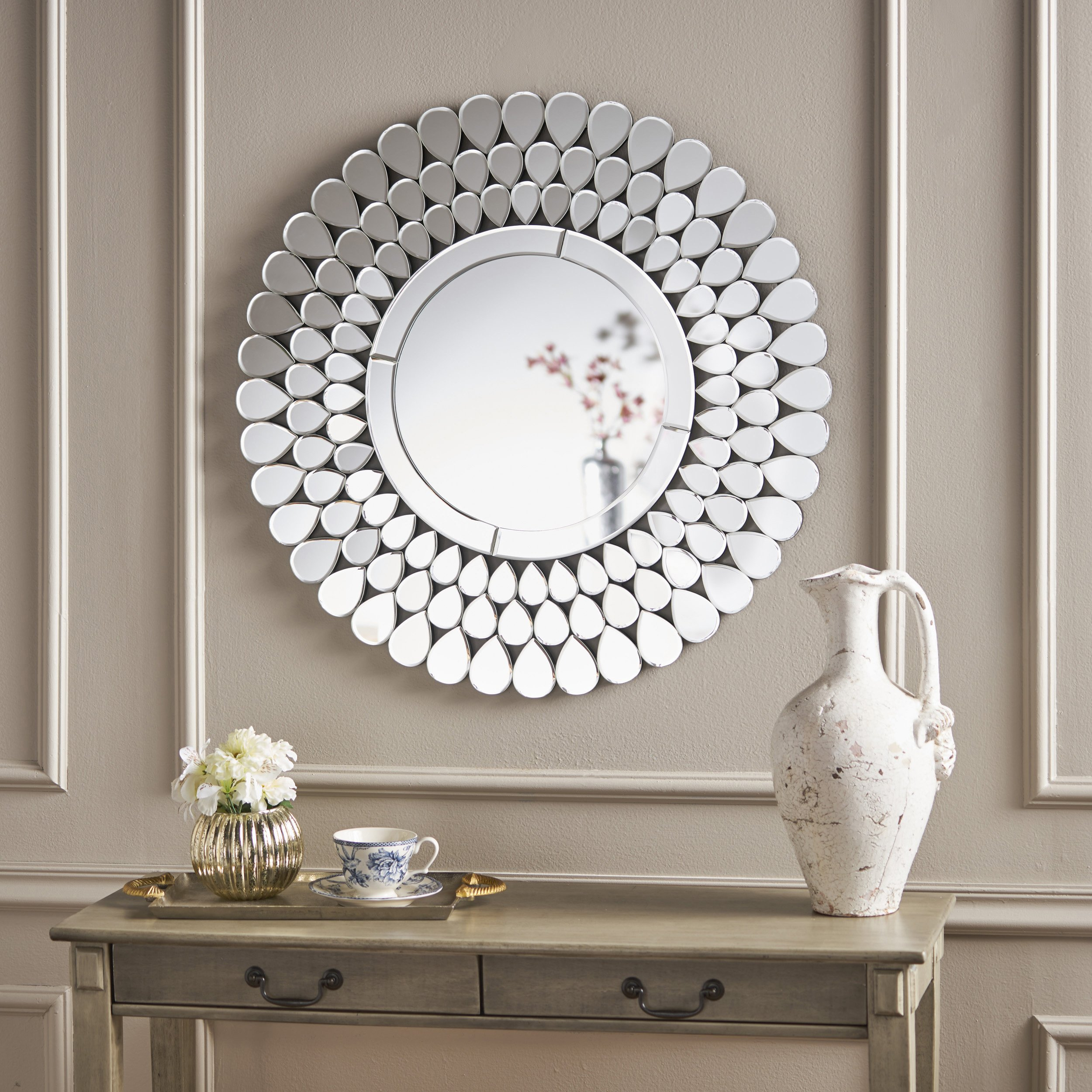 Christopher Knight Home 301518 Armguard Flower Wall Mirror, Clear