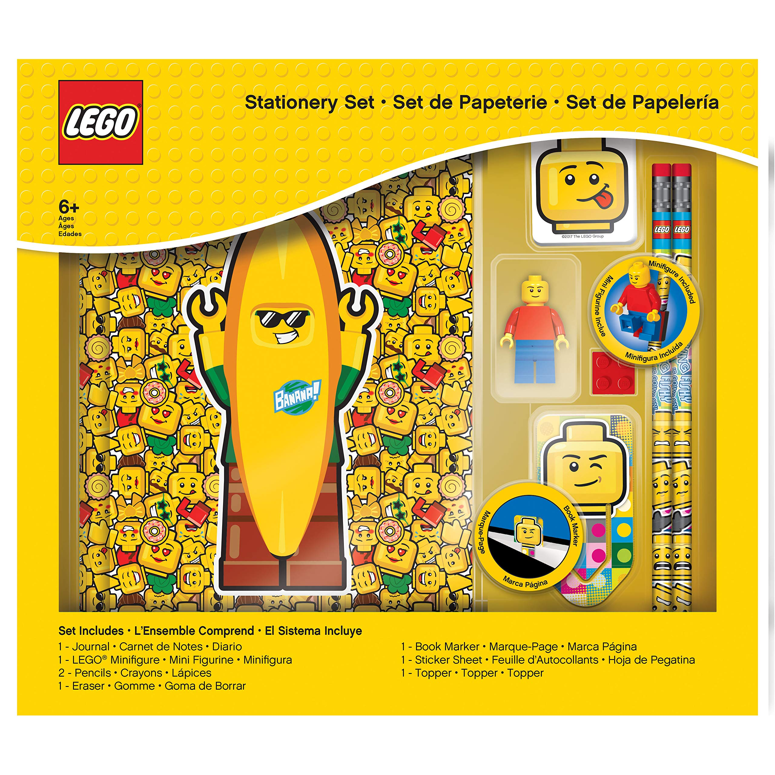 LEGO Classic 8 Piece Journal Stationery Set - Journal, Pencils, Erasers, Minifigure and More