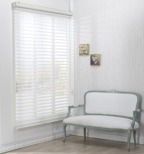Custom Cut to Size , Winsharp Triple 55pd , White , W 35 x H 72 Inch Roller Sheer Fabric Shade Horizontal Window Blinds Treatments , Maximum 91 Inch Wide by 103 Inch Long