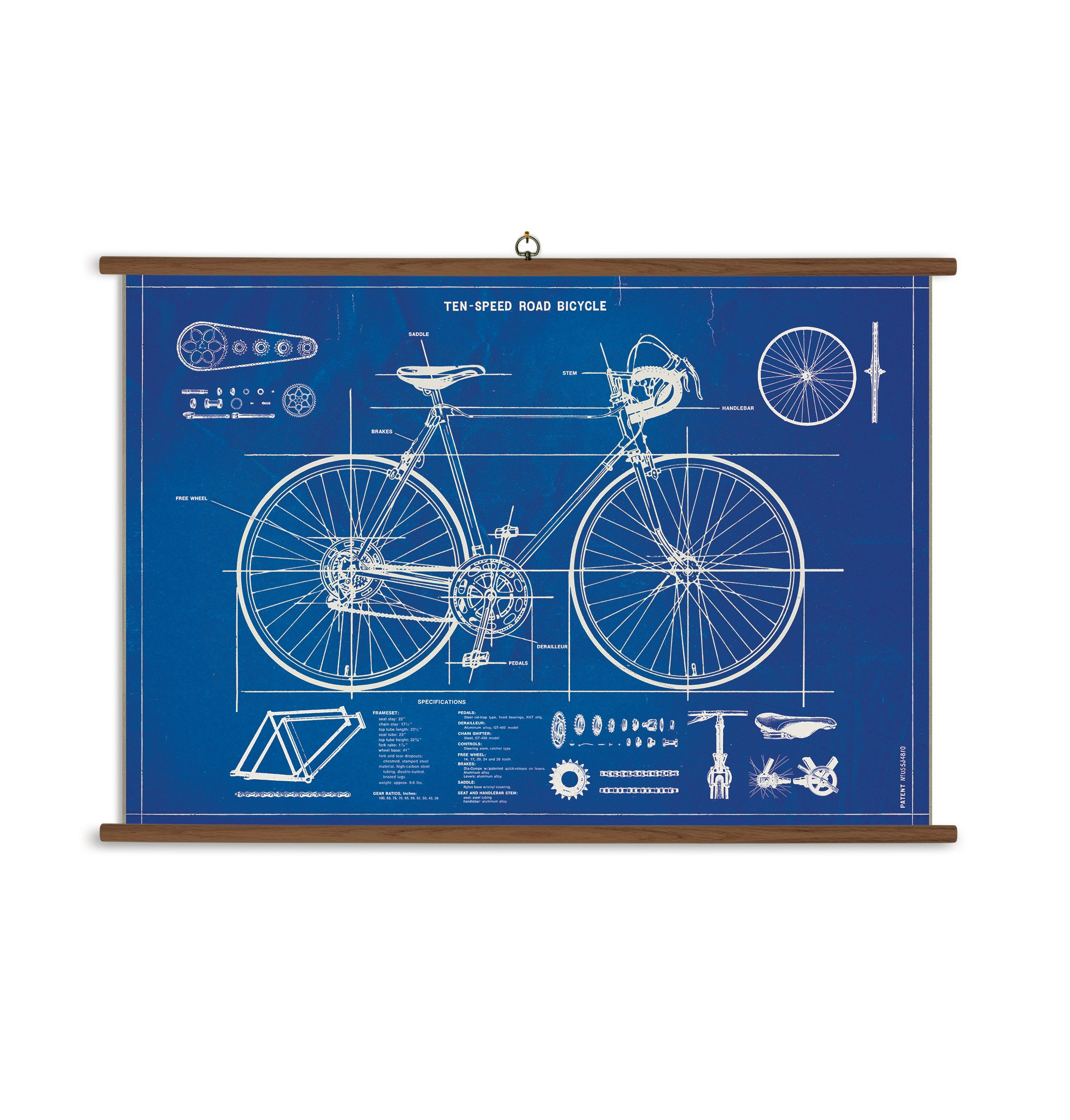 Cavallini Papers & Co., Inc. VSC/BIC Bicycle Blueprint Cavallini Bicycle Blueprint Vintage School Chart