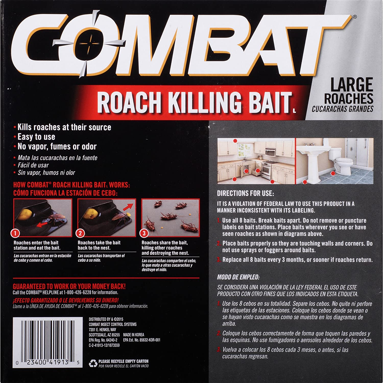 Amazon.com : Combat Roach Killing Bait, Large Roach Bait Station, 8 Count (Pack of 6) : Garden & Outdoor