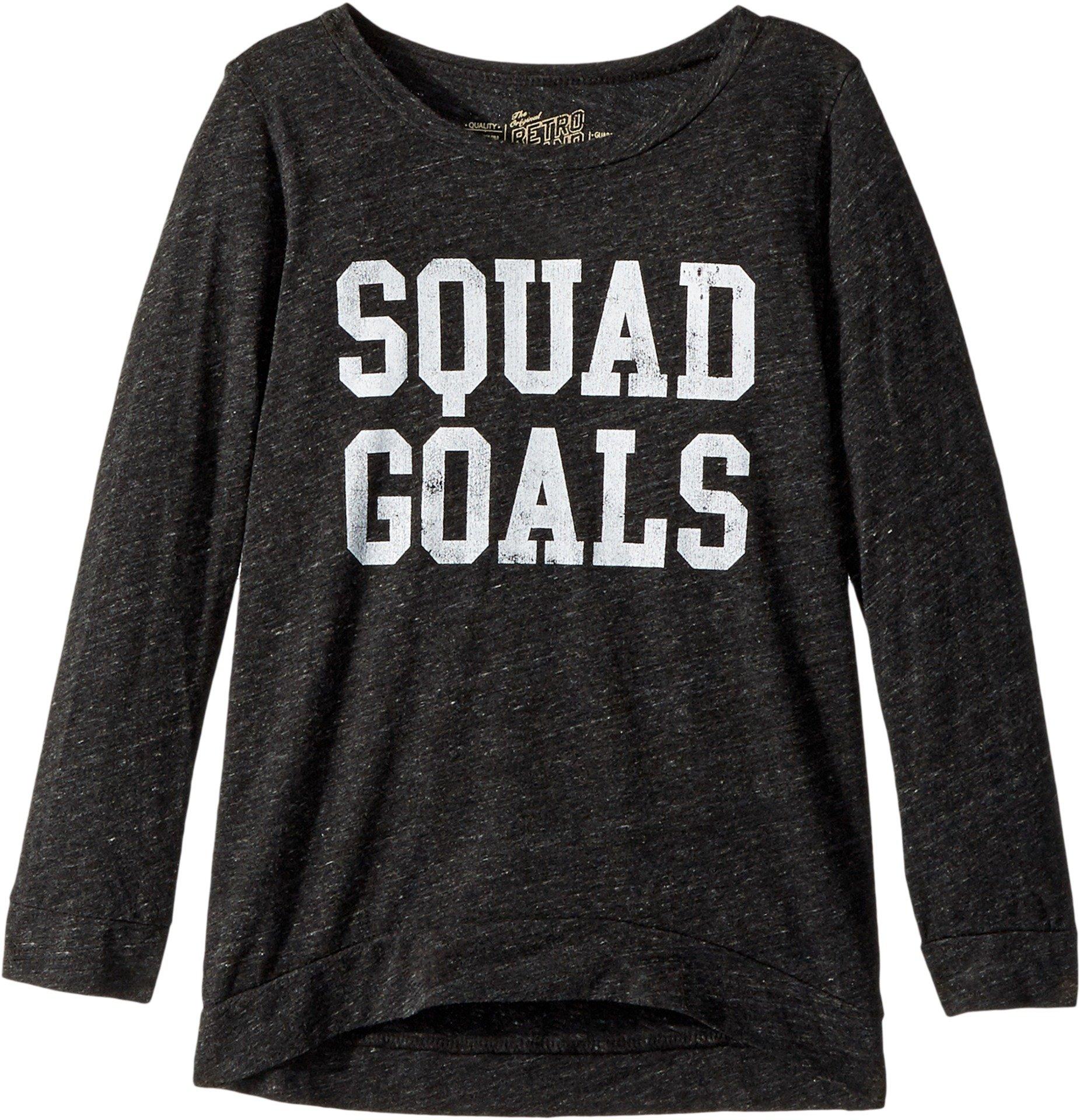 The Original Retro Brand Kids Girl's Squad Goals 3/4 Pullover (Big Kids) Streaky Black Medium by The Original Retro Brand Kids (Image #1)