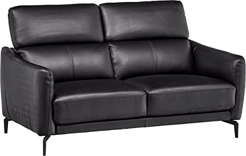 Amazon Brand Rivet Kaden Mid-Century Modern Adjustable Headrest Leather Loveseat Sofa