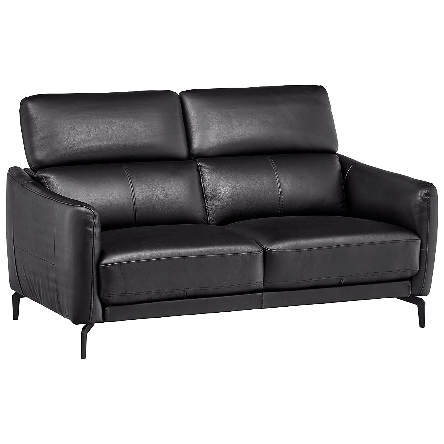 "Rivet Kaden Mid-Century Modern Adjustable Headrest Leather Loveseat Sofa, 61.8""W, Black Leather"