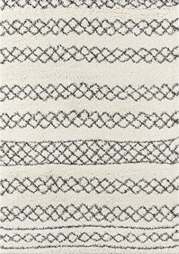 Momeni Inca Link Shag Rug 5 3 x 7 6 Ivory Grey