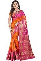 Vatsla Enterprise Women's Silk Saree With Blouse Piece (Vbops1_Orange & Pink)