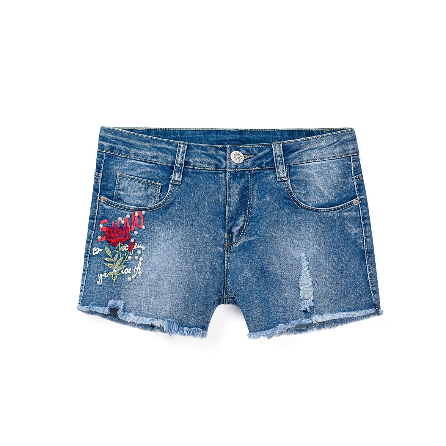 ISPED Girls Jean Shorts for Teen Girls Ripped Girls Shorts Summer Floral Embroided Denim Jean Shorts