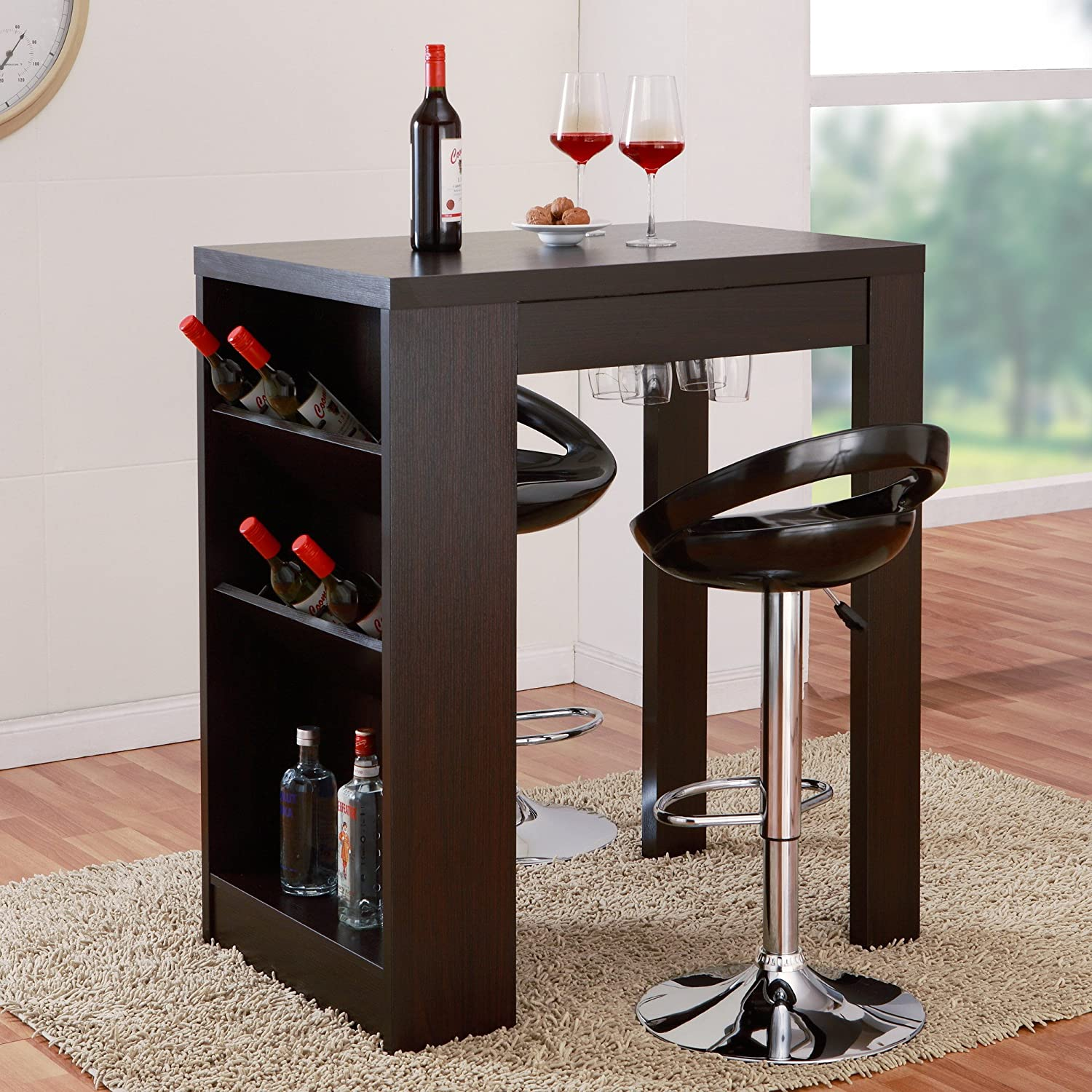 Amazon.com   Hokku Designs Geardo Wine Bar Table U0026 Server Home Furniture U0026  Decor With Integrated Metal Racks Accommodate Up To 9 Standard Size  Glasses, ...