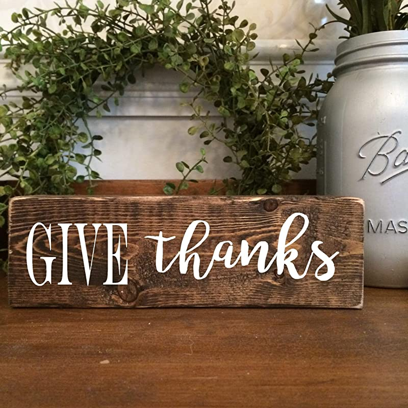 give thanks Hand-lettered Wooden Sign