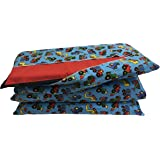 KinderMat Cover - PillowCase Style Full Sheet for Nap Mats 19 X 45 Inches - Tractors Blue
