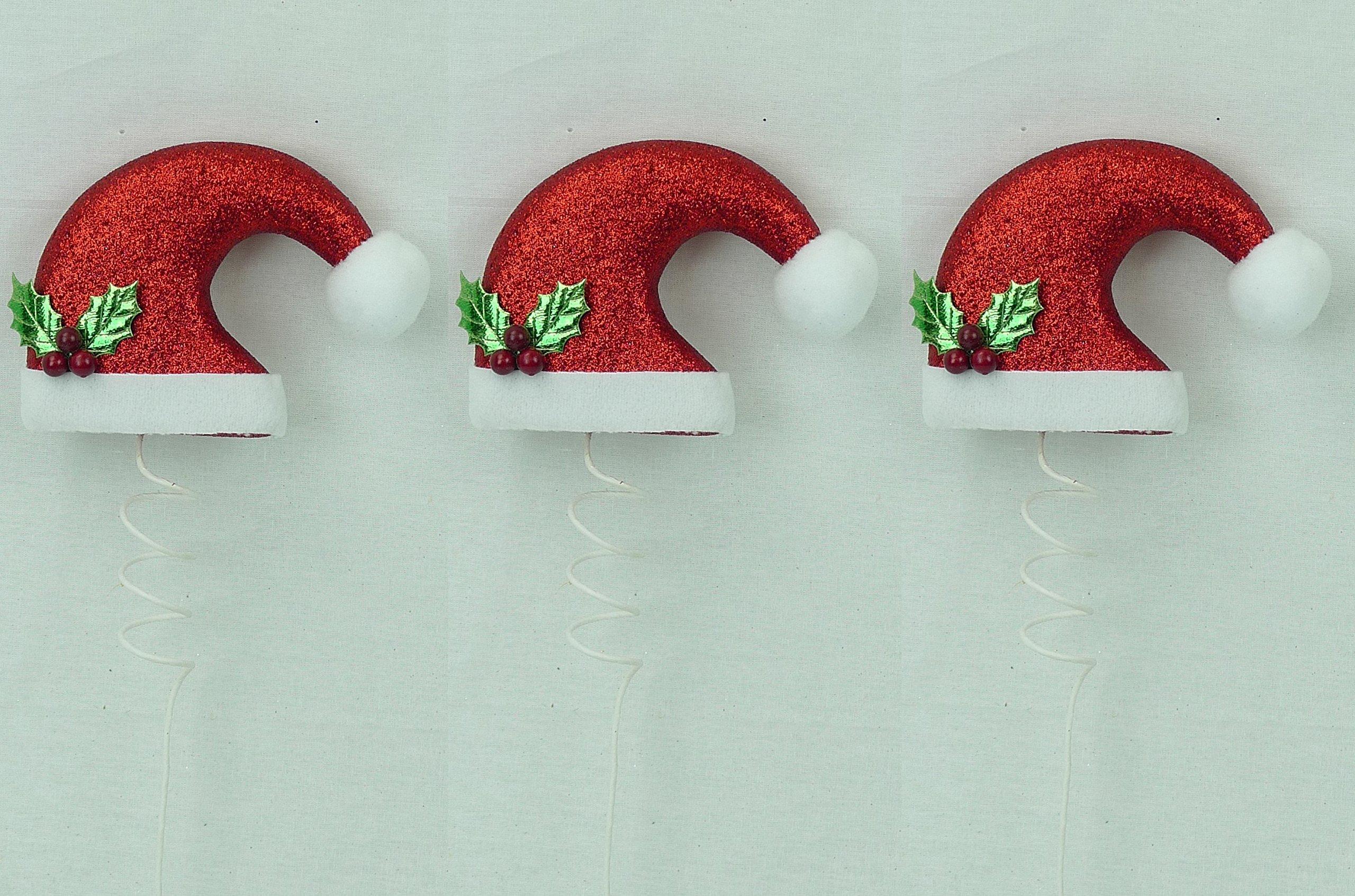 None Santa Hat Pick Ornament Snow Accent 15''