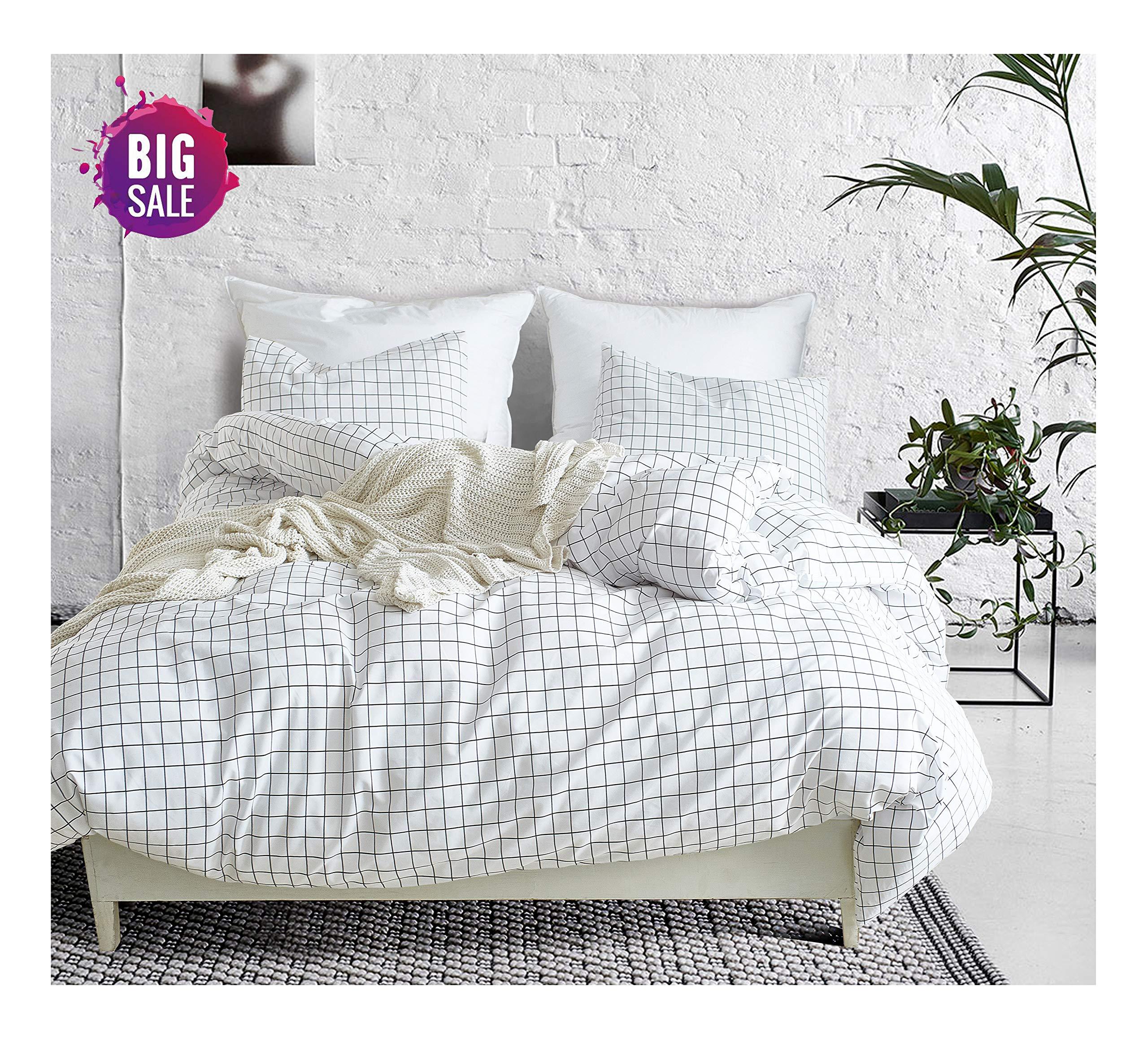 Elephant Soft Duvet Cover Set, Premium Microfiber, Grid Pattern On Comforter Cover-3pcs:1x Duvet Cover 2X Pillowcases,with Zipper Closure (Full/Queen)