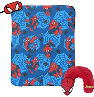 Marvel Spiderman Classic 3 Piece Plush Kids Travel Set with Neck Pillow, Blanket & Eye
