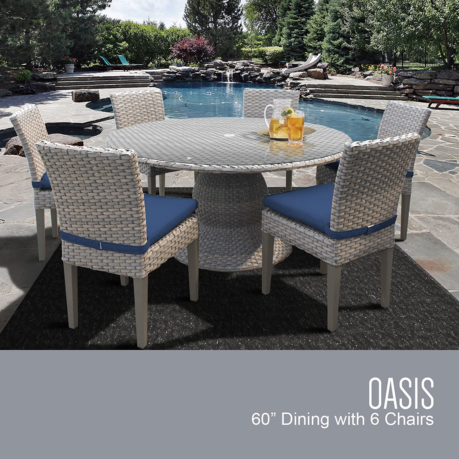 TK Classics FLORENCE-60-KIT-6C-NAVY Florence 60 Inch Table with 6 Armless Chairs Outdoor Wicker Patio Dining Sets, Navy