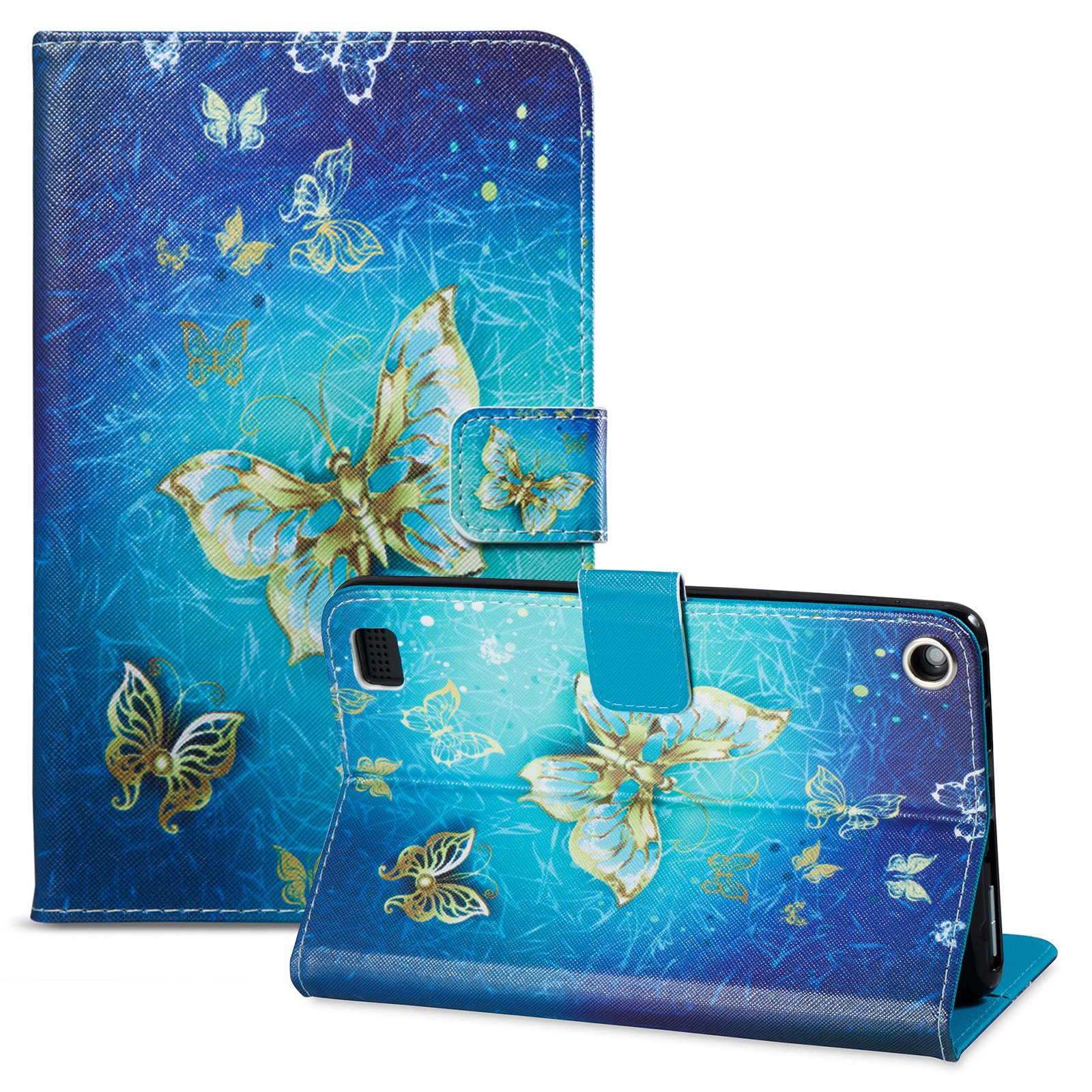 UUcovers Folio Case for Amazon Fire 7 Tablet (5th Gen,2015)-Slim Fit PU Leather Filp Stand Wallet Protective Cover,Golden Butterfly