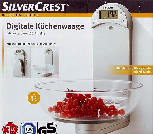 SilverCrest báscula de cocina digital con montaje en pared Pantalla LCD perfectamente legible y colocar: Amazon.es