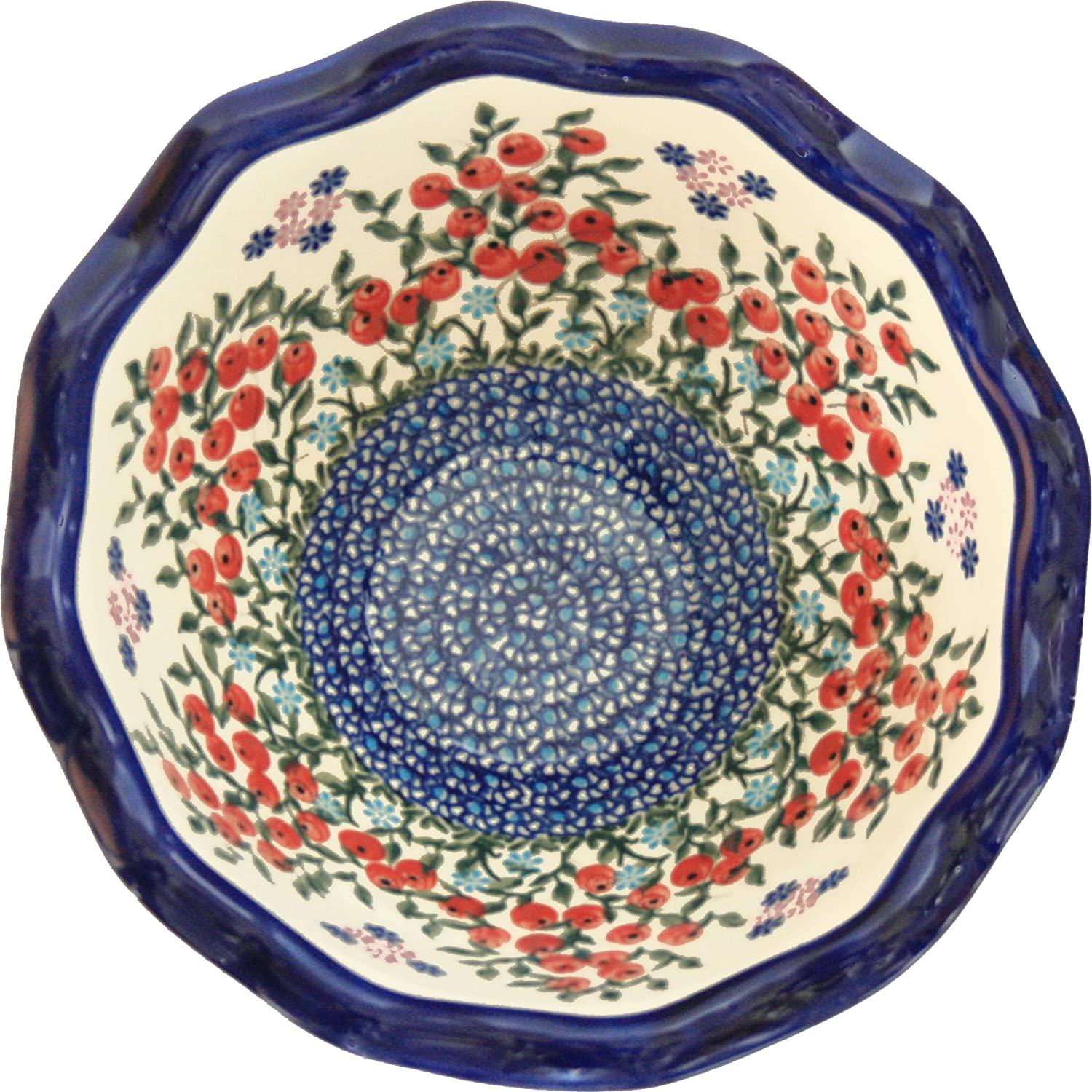 Polish Pottery Ceramika Boleslawiec 0413/282 Royal Blue Patterns 5-3/4-Cup Fala Bowl, Small, Red Berries and Daisies Lidia's Polish Pottery Inc. 0413-282