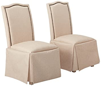 Remarkable Parkins Skirted Parson Chairs Ivory And Rustic Amber Set Of 2 Pdpeps Interior Chair Design Pdpepsorg
