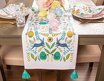Dii Easter Folk Garden Kitchen Textiles Table Runner 14x72 Home Kitchen Amazon Com