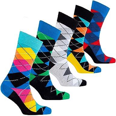 f2927a755d27 Socks n Socks-Men's 5-pair Luxury Cotton Argyle Cool Dress Socks Gift Box