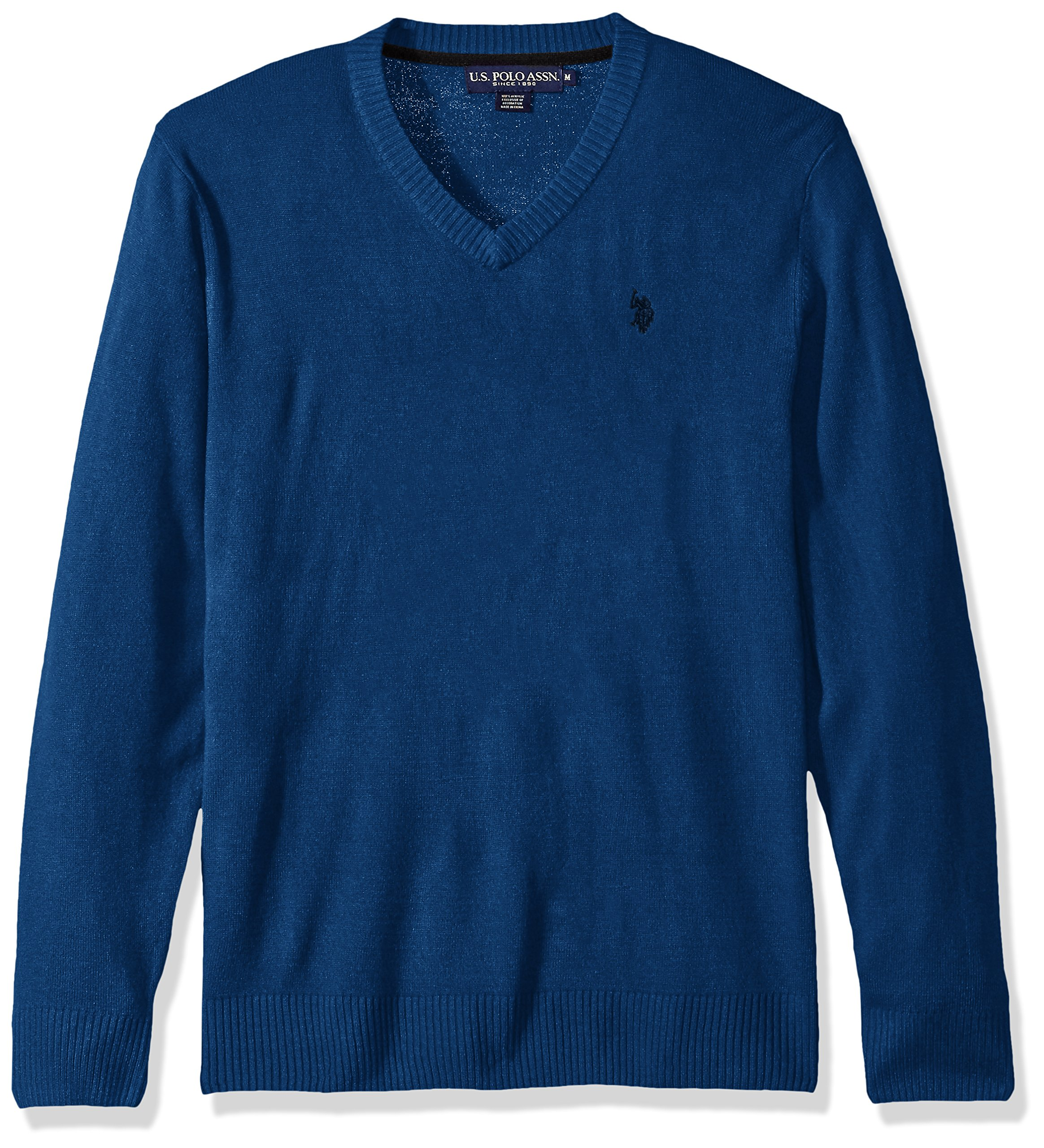 U.S. Polo Assn. Men's Solid V-Neck Sweater, Ocean Heather, Large