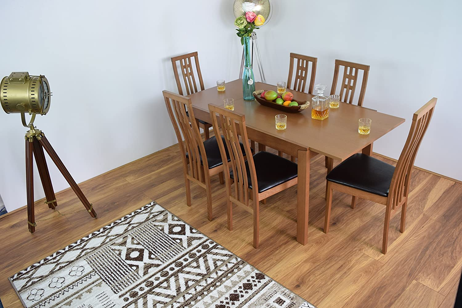 AHOC Extending Honey Oak Dining Room Table And 6 Chairs Solid Wood Dinner Set Cambridge EXTENDABLE MODERN WOODENDINNER TABLES SETS CHAIRS