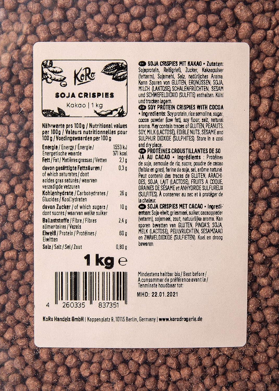 KoRo - Bolitas proteicas de soja con cacao 1 kg - Ingrediente crujiente para tus cereales rico en proteínas