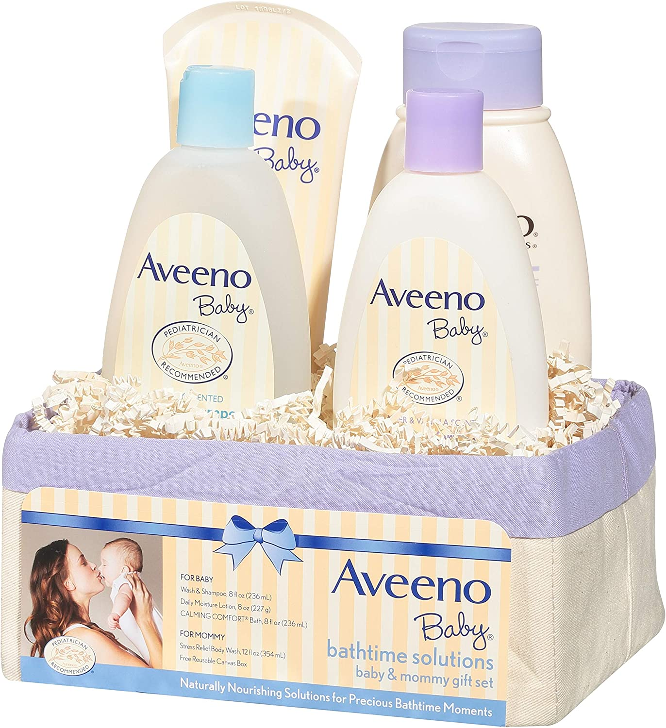 Aveeno Baby Daily Bathtime Solutions Gift Set including Baby Wash & Shampoo, Baby Calming Bath, Baby Moisturizing Lotion and Stress Relief Body Wash for Mom, 4 items
