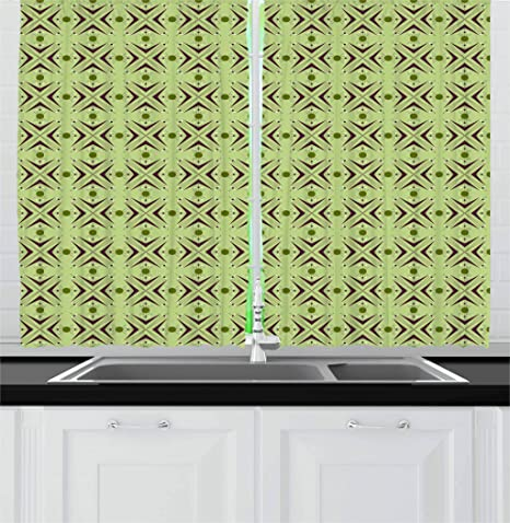 Ambesonne Mid Century Kitchen Curtains Atomic Form With Boomerang Details Dots And Crossed Lines Window Drapes 2 Panel Set For Kitchen Cafe Decor 55 X 39 Green Plum Home Kitchen