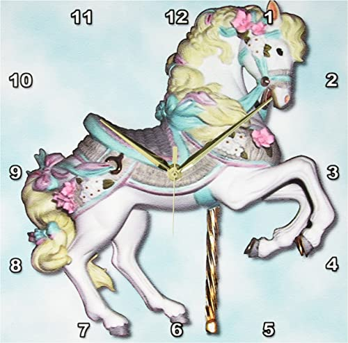 3dRose DPP_1186_2 Carousel Horse in Wall Clock, 13 by 13-Inch, Blue